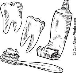 dental, objetos, higiene, esboço