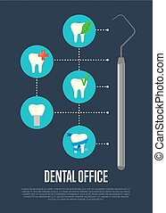 Dental office banner with tooth symbols
