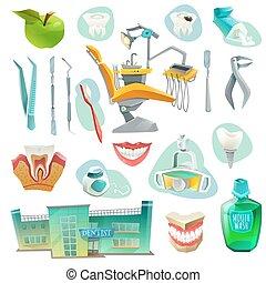Dental Office Decorative Icons Set