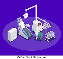 Dental Operation Isometric Composition
