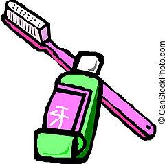 dental, paste, bürste, zahn