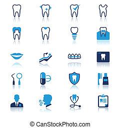 dental, plano, con, reflexión, iconos