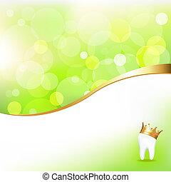 dental, plano de fondo, con, diente, en, corona de oro