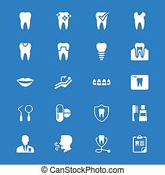 dental, plano, iconos