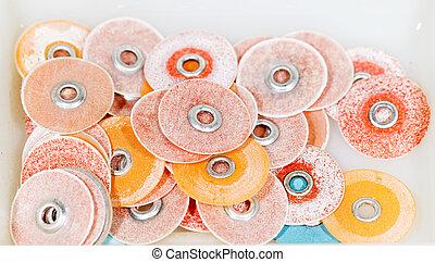 Dental polishing discs on isolated white background