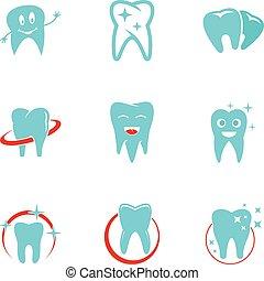 Dental polyclinic icons set, flat style
