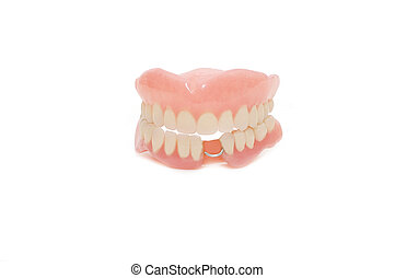 dental, prótesis, fondo blanco