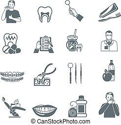 dental, pretas, ícones, jogo