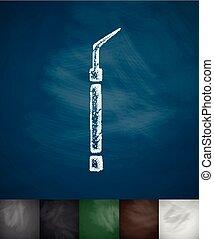 dental probe icon. Hand drawn vector illustration....
