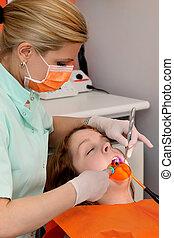 dental, procedimiento, fue adelante, laser