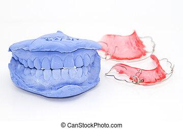 Dental prosthesis and gypsum model plaster on white
