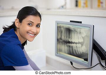 dental, röntgenbild, examen