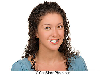 teen girl with braces (retainer)