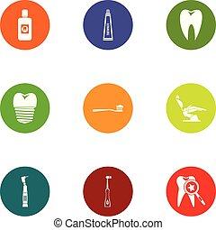 Dental revamp icons set, flat style