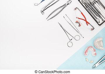 dental, sätta, redskapen
