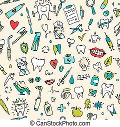 Dental seamless pattern, sketch for your design