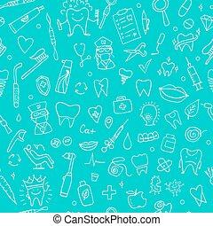Dental seamless pattern, sketch for your design. Vector...