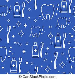 dental seamless pattern. white teeth on blue background -...