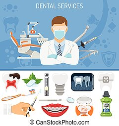 Dental Services banner and infographics with Oral Hygiene...