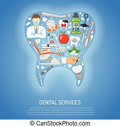 Dental Services Concept with flat icons in shape of tooth...