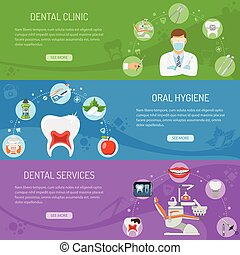 Dental Services horizontal banners with Oral Hygiene and...