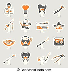 Dental Services sticker two color Sticker Icons Set - Set...