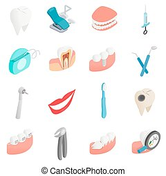 Dental set icons, isometric 3d style