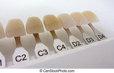 Dental shade guide - Close up of a dental shade guide