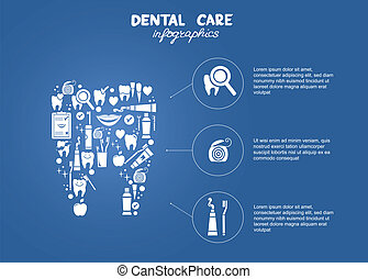 dental, simples, cuidado, infographics