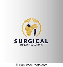 Dental surgery implantation vector logo design