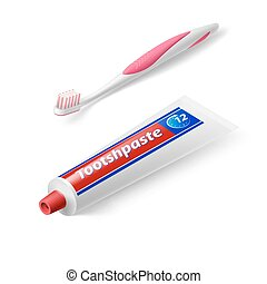 Dental Symbol - Isometric Dental Brush with Tooth Paste on...