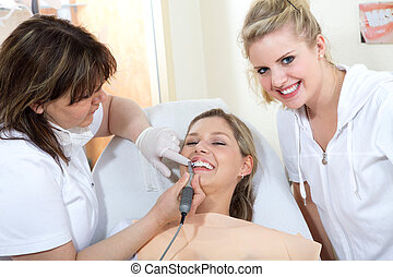 Dental team at work