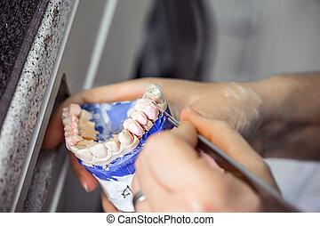 Dental technician working