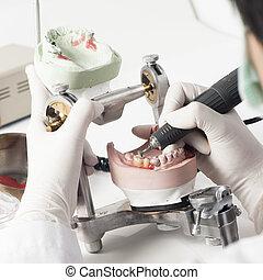 Dental technician working with articulator