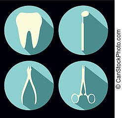 Dental theme flat icons