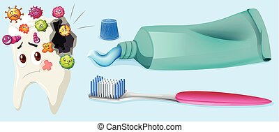 Dental theme with tooth decay and equipment illustration