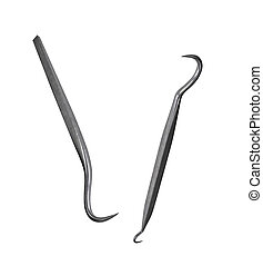 dental tools on white background