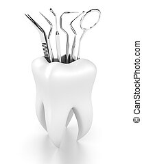 Dental tools - Illustration of dental tools in the white...