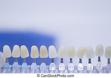 Dental tooth color guide for implants and crown colors