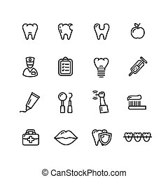 Dental Tooth Doctor Icon Set. Vector