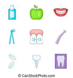 Dental tooth doctor icons set, cartoon style - Dental tooth...