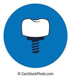 Dental tooth implant. Implantation dentistry and care to teeth