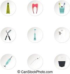 Dental treatment icons set, flat style