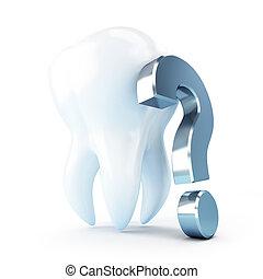 dental treatment under a question mark. 3d Illustrations on...