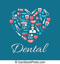 Dental treatments flat icons in a shape of heart