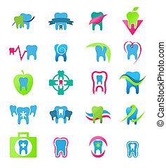 dental, vector, stomatology, icons.