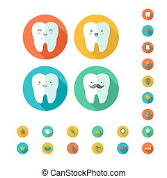 dental, vektor, illustration., icons., z�hne