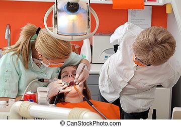 dental, verfahren, füllung, bohrung, zahn