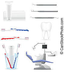 dental, vetorial, jogo, ícones