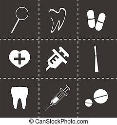 dental, vetorial, pretas, jogo, ícones